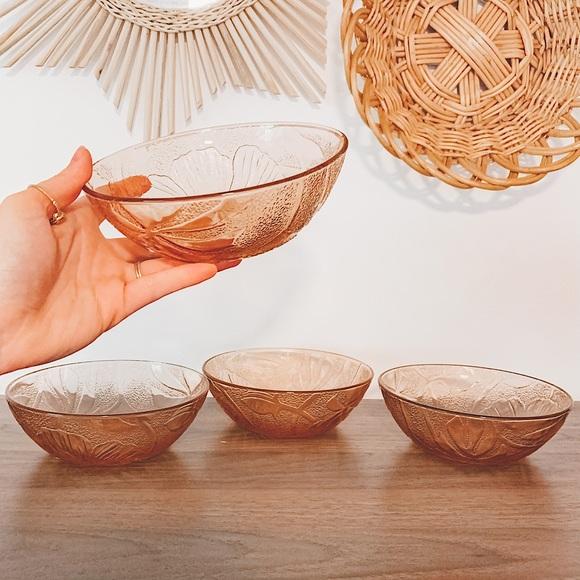 Vintage Pink Depression Glass Flower Bowl Set